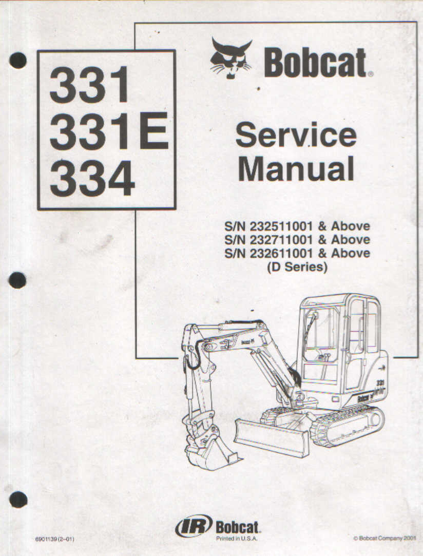 hight resolution of bobcat excavator 331 331e 334 service workshop manual 3284 p jpg