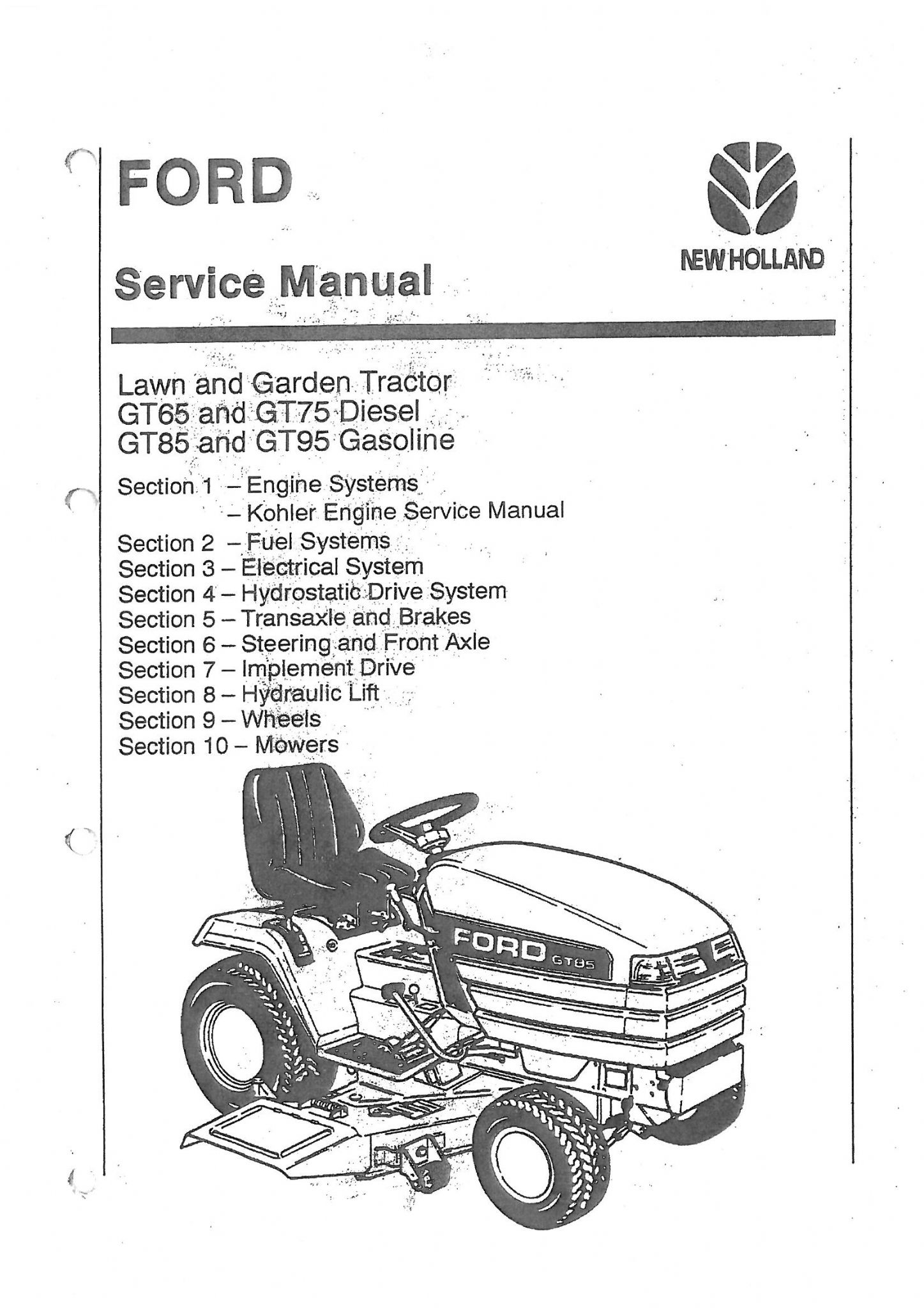 Ford Garden and Lawn Tractor GT65 GT75 GT85 GT95 Workshop