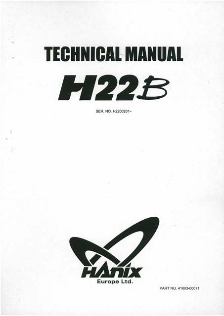 Hanix Mini Excavator H22B Technical Manual