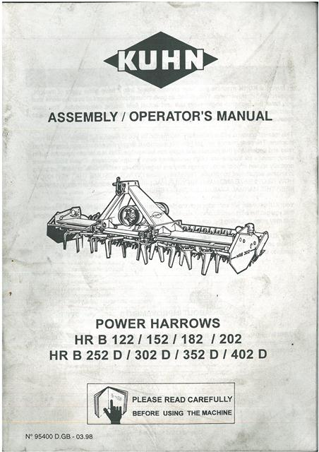 Kuhn Power Harrow Hrb122 Hrb152 Hrb182 Hrb202 Hrb252d Hrb302d Hrb352d Hrb402d Operators Manual