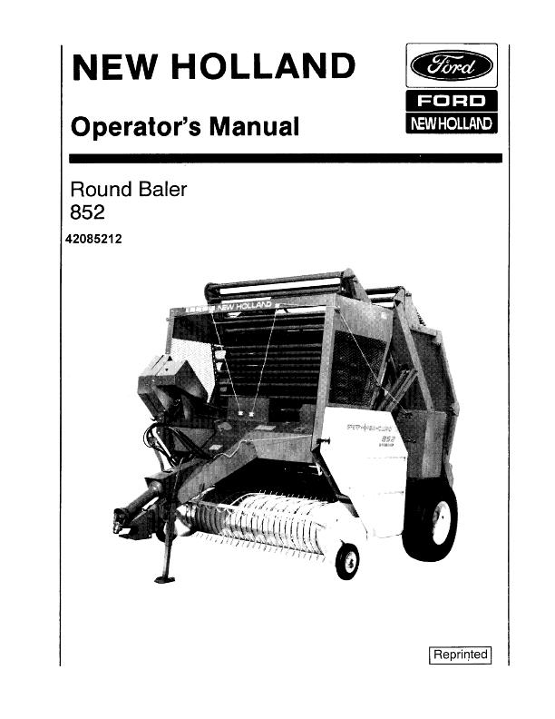 New Holland Round Baler 852 Operators Manual