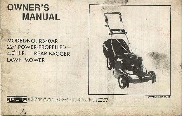 Home Safety Diagrams Roper Lawn Mower Model No R340ar Operators Manual With
