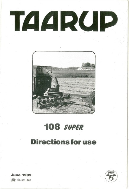 Taarup Forage Harvester 108 Super Operators Manual