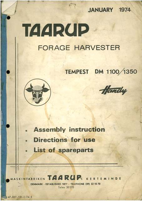 Home Safety Diagrams Taarup Forage Harvester Tempest Dm 1100 1350 Operators
