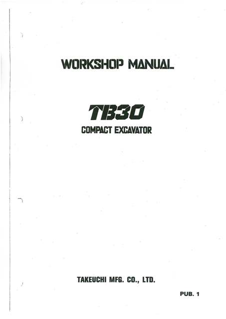 Takeuchi Hydraulic Excavator TB30 Specifications Manual in