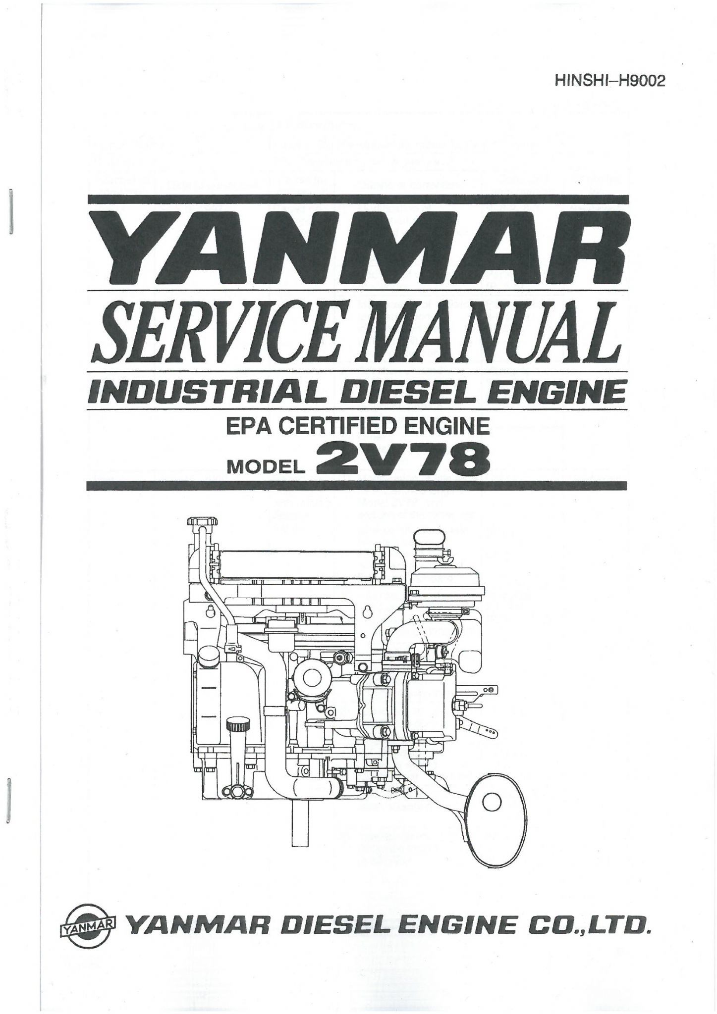 Yanmar Diesel Engine Model 2V78 Workshop Service Manual