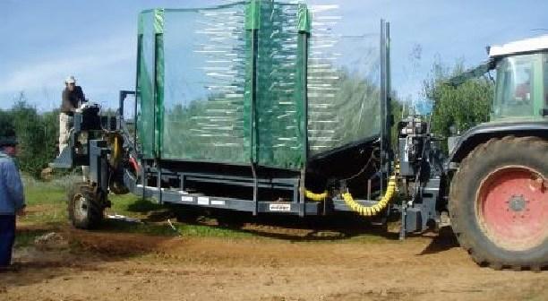 Demonstração de máquina de colheita em contínuo de azeitona