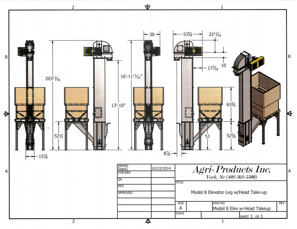 medium resolution of cad drawing of a model 8 seed elevator with a stand for a pro box to feed elevator