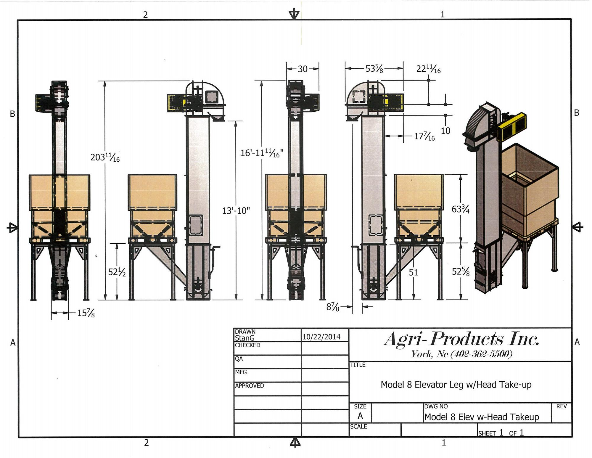 hight resolution of cad drawing of a model 8 seed elevator with a stand for a pro box to feed elevator
