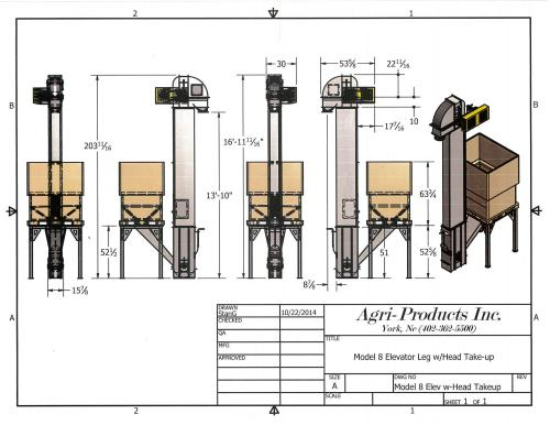 small resolution of cad drawing of a model 8 seed elevator with a stand for a pro box to feed elevator
