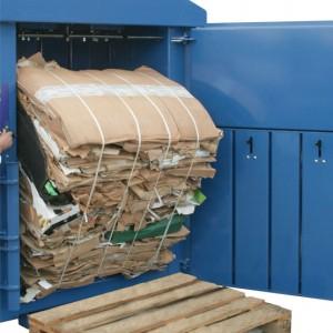 cardboard baled onto pallet