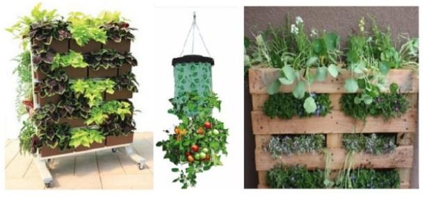 recipientes para el huerto urbano vertical