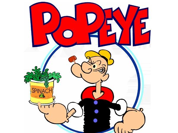 """Persona de dibujos animados """"Popeye"""" con su lata de espinacas"""