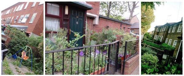 Pequeños jardines en la parte delantera de algunas casas de Londres