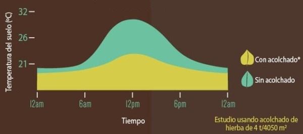 Variación de la temperatura usando alguno de los tipos de mulching