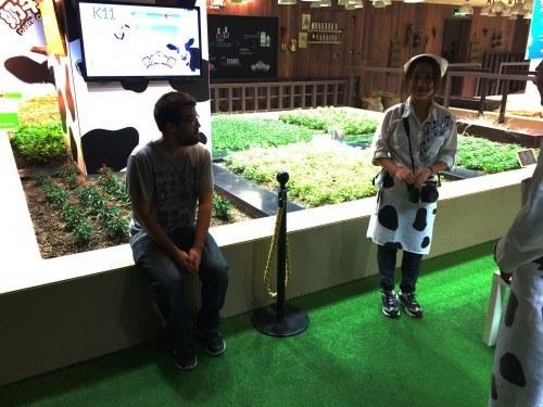 Aquí me veis intentando pedirle una foto a los integrantes del espectáculo del K11 urban farming.