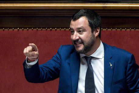 Il ministro dell'Interno e vicepremier Matteo Salvini durante il question time al Senato, Roma, 26 luglio 2018. ANSA/ANGELO CARCONI