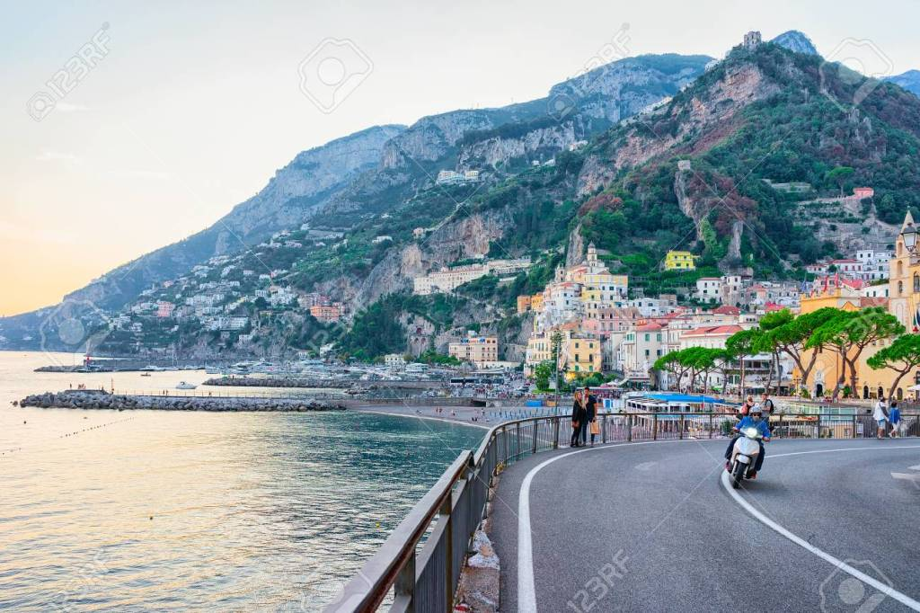 Amalfi, Italy - September 30, 2017: Road in Amalfi town and Tyrrhenian sea in autumn, Amalfitana, Italy