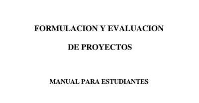 Libro sobre formulación y evaluación de proyectos