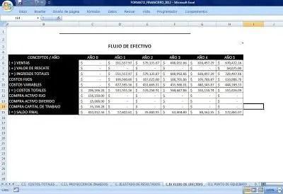 flujo de efectivo sra 2012