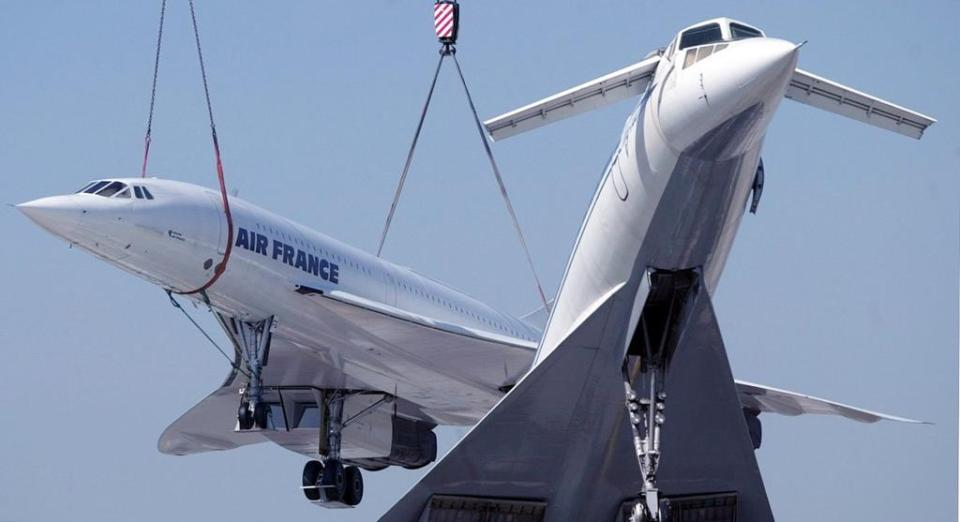 Now, the Concordes have become museum pieces. Here, an Air France Concorde joins its Soviet rival, the TU144, as a show piece.
