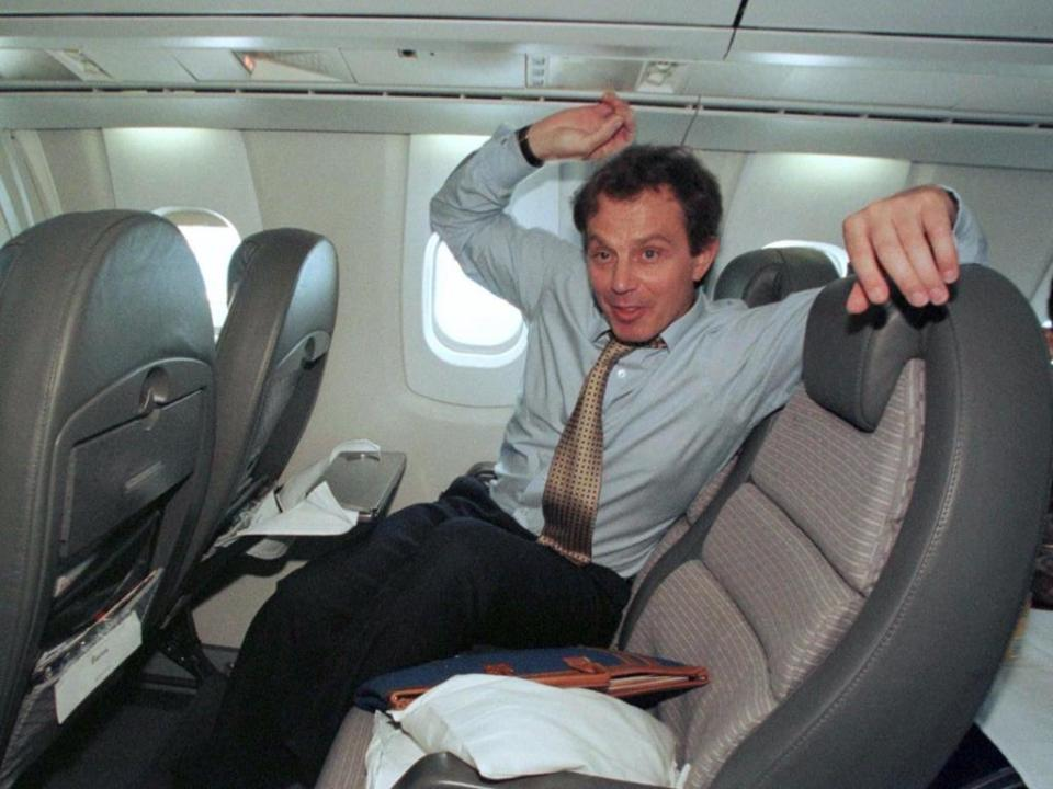 Former British Prime Minister Tony Blair looks as if he had a good time on board.