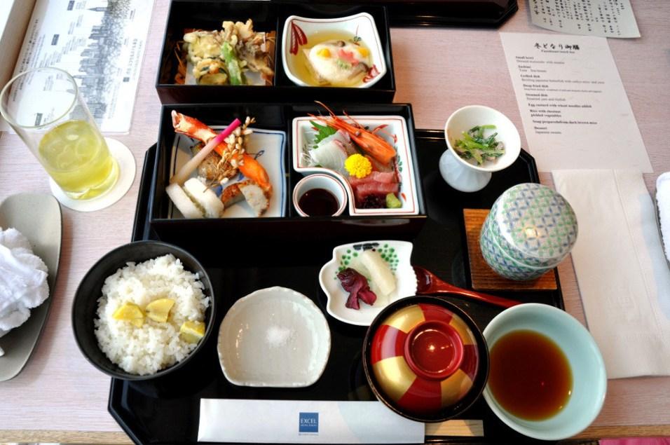 Japan, Tempura Sashimi, pickles, rice, Miso soup, Food