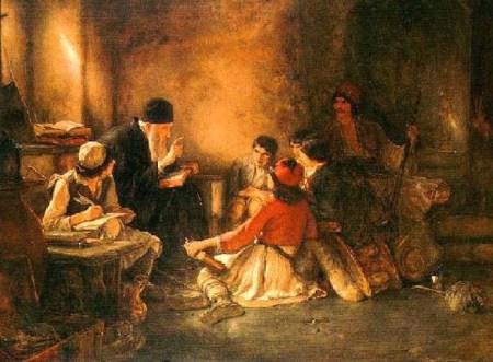 """""""בית הספר הסודי"""", ציור שמן, 1885-1886. (צילום: ויקיפדיה)"""