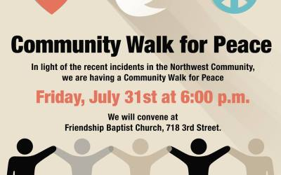 Join the Community Walk for Peace on this Friday, July 31st