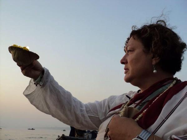 Kim LaRue at the Ganges River