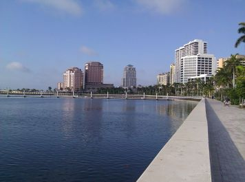 Looking back along the waterfront, we see Phillips Point, the Esparante Building and the Trump Towers