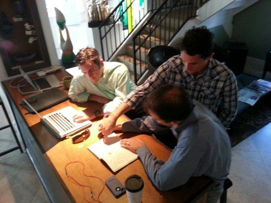 Chris Callahan, Nick Mohnacky and Chris Roog planning Startup Weekend