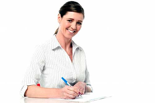 A woman improving her writing skills by practicing