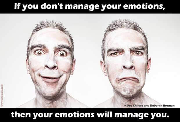 Comic faces of a man happy and sad with quote about managing emotions