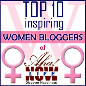 Logo of the Aha!NOW inspiring women blogger award 2015