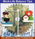 Work-life balance tip poster showing a man sitting and working weighing down on one side of balance while the other side has aspects of life