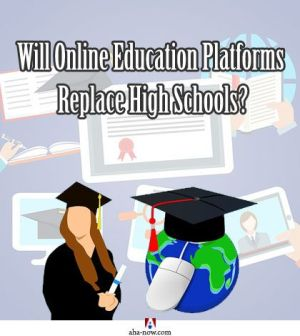 Symbols of traditional and online scholars with the test asking if online education platforms will replace high schools