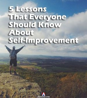 Man atop a mountain learning the lessons of self-improvement journey