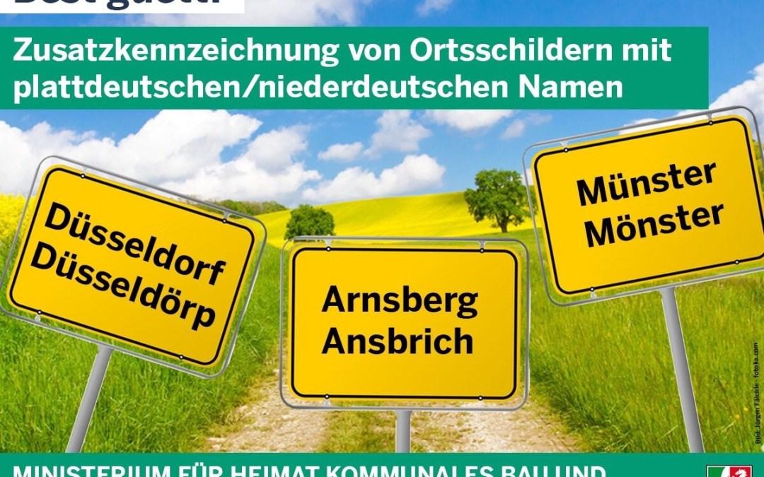 Noordrijn Westfalen 'kopieert' Friese plaatsnaamborden met Drentse tongval. Düsseldorf is Düsseldörp