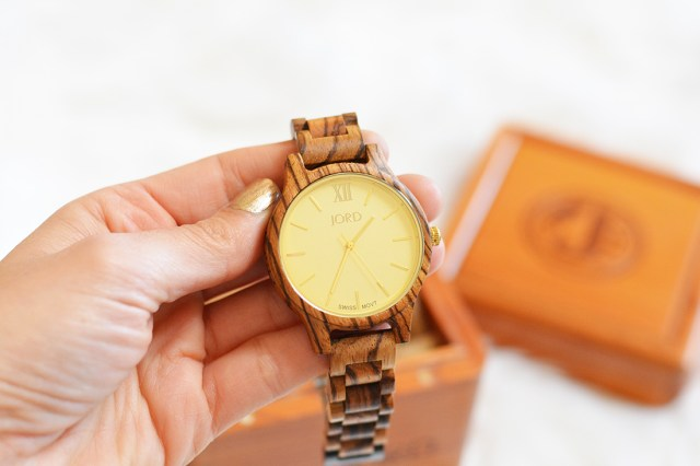 Jord Zebrawood wood watch in champagne A Happy Blog