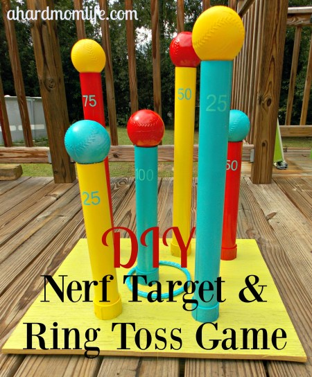 Looking for the perfect game to keep the kids entertained this summer? This easy and inexpensive Ring Toss and Nerf Target Game is the ideal solution.
