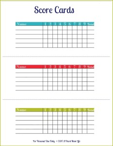 These score cards are the perfect way to keep up with scores while playing backyard disc golf.