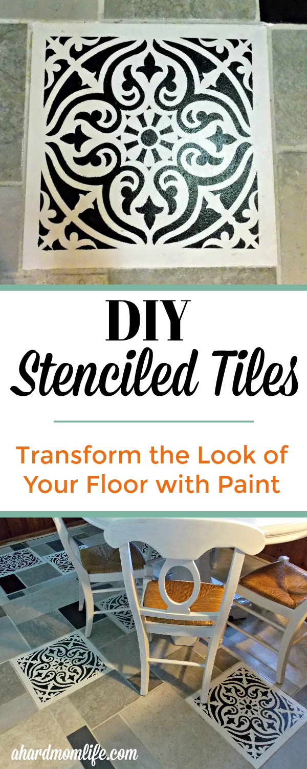 Do you have an outdated tile floor but don't have the budget to replace it? Try transforming it with DIY painted tiles. It's easier than you might think. #DIYPaintedTiles #StenciledTiles #HomeImprovement