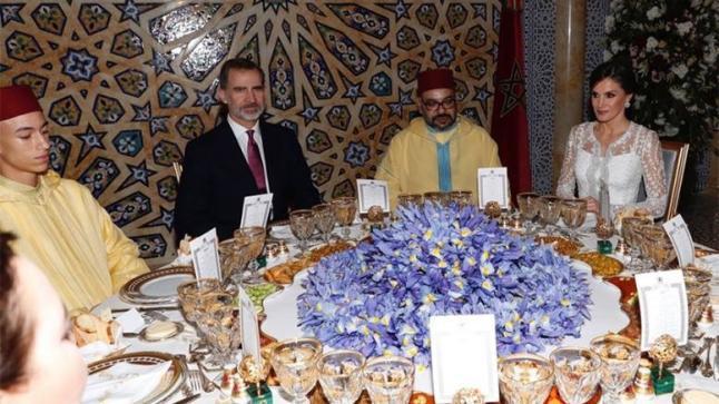 الملك محمد السادس يقيم مأدبة عشاء رسمية على شرف عاهلي إسبانيا