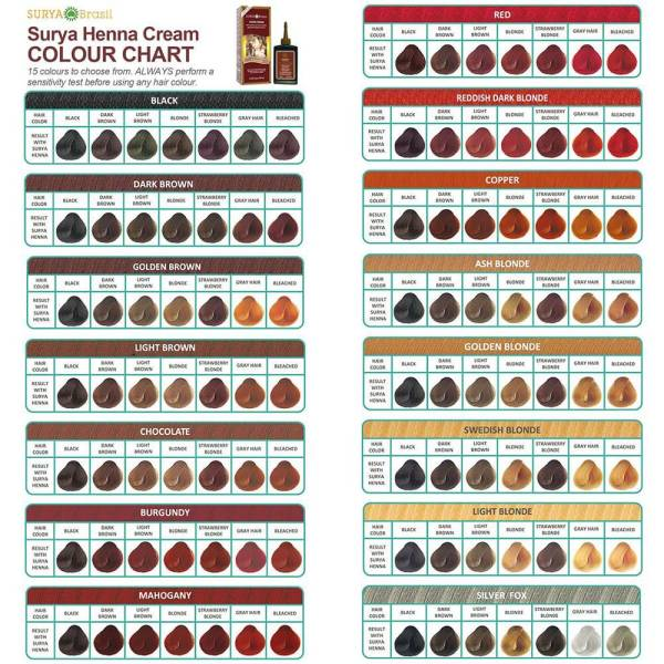 20 Surya Henna Cream Color Chart Pictures And Ideas On Carver Museum