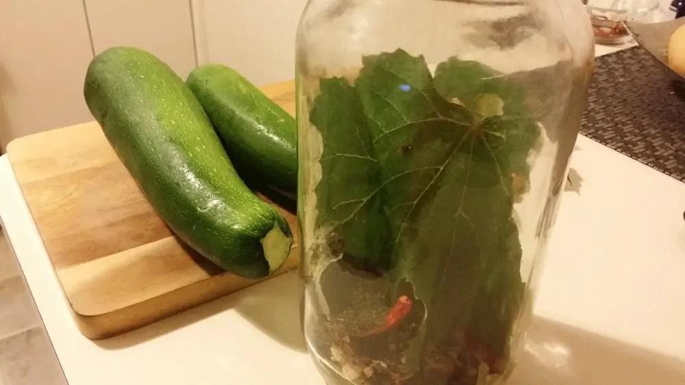 Lacto-fermented zucchini