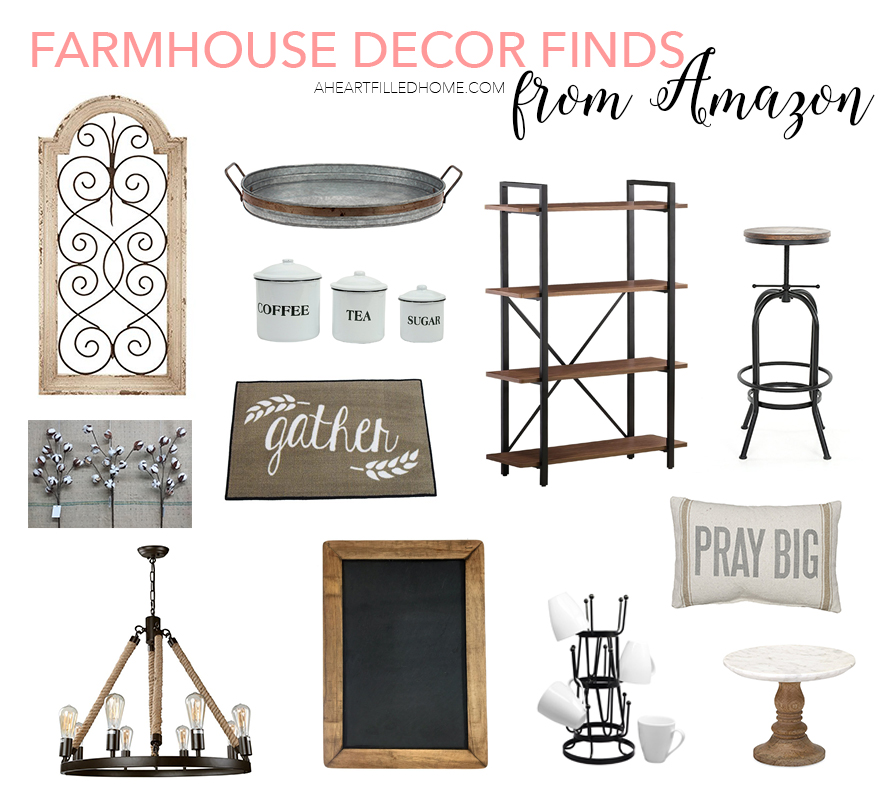 Farmhouse Decor Finds from Amazon. Beautiful finds for every room in your home! | aheartfilledhome.com