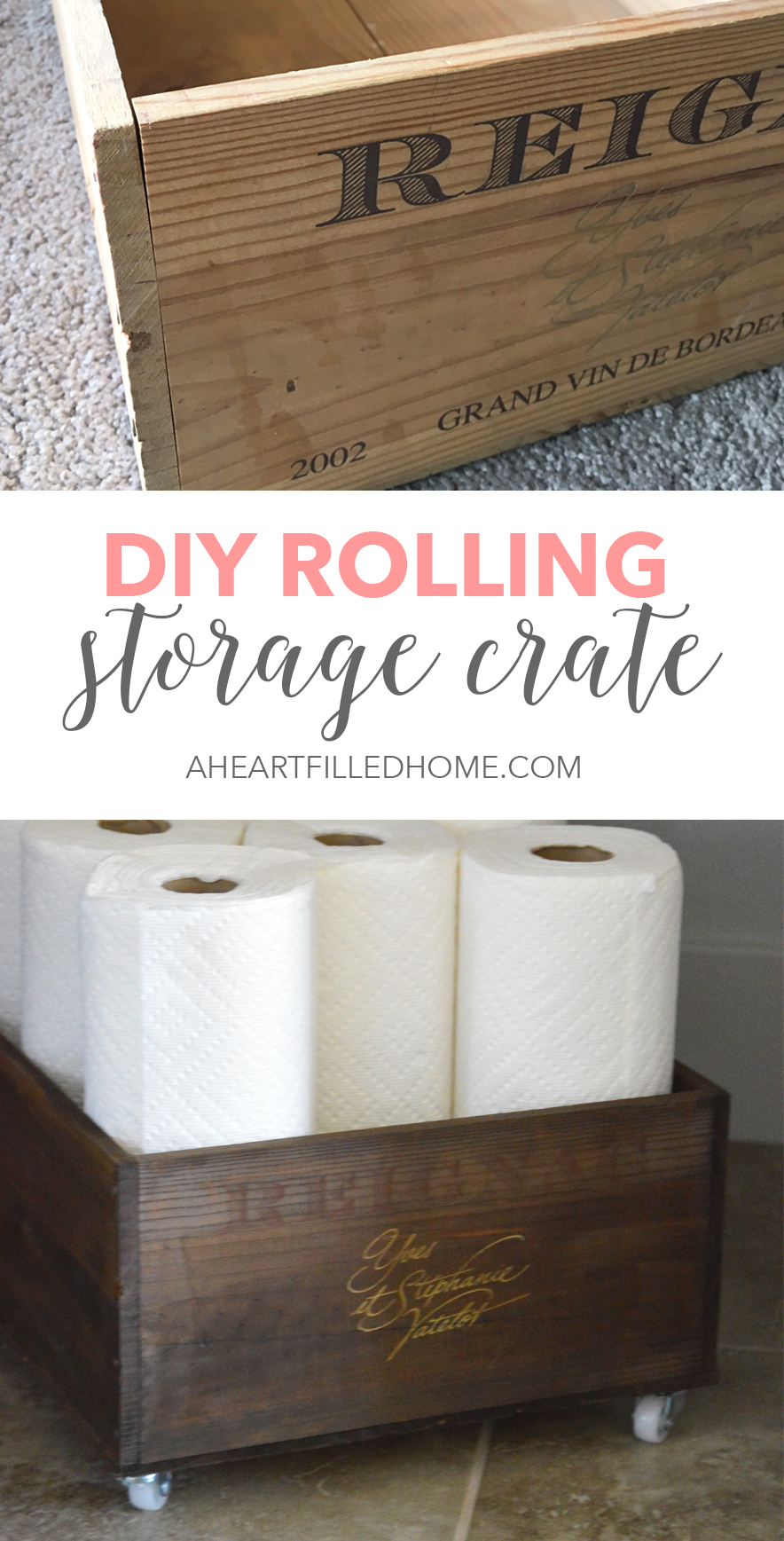 DIY Rolling Storage Crate - Find the easy DIY tutorial at aheartfilledhome.com!