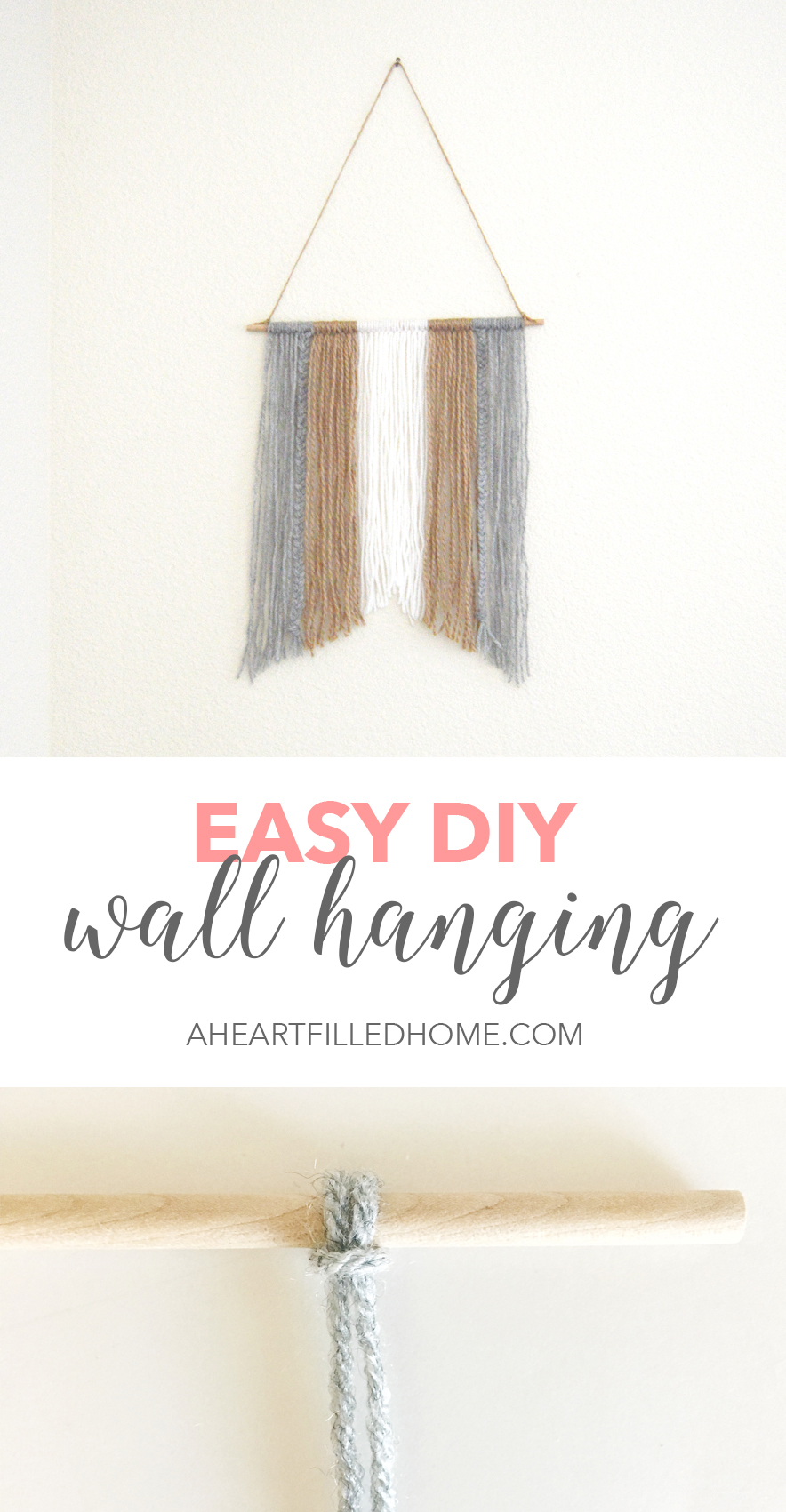 How to make an easy DIY wall hanging! Visit aheartfilledhome.com to find the simple tutorial!