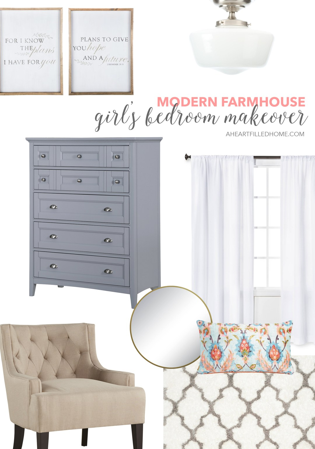 Modern Farmhouse Girl's Bedroom Makeover from aheartfilledhome.com